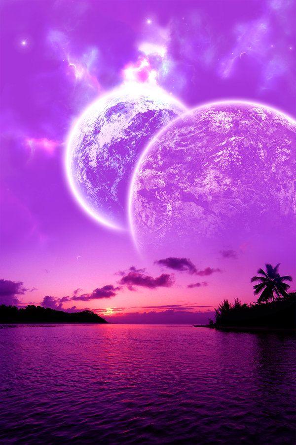 Beautiful Cosmic Sunset Purple Pink Ocean Cosmic Fantasy