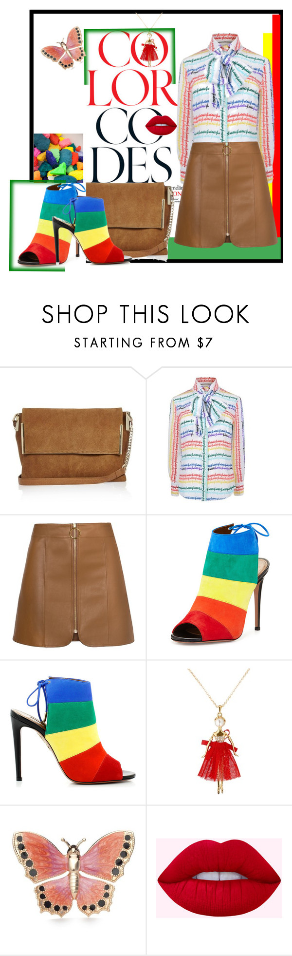 """color codes"" by sahrish-hossain ❤ liked on Polyvore featuring River Island, Gucci, Aquazzura, Ted Baker and Kim Rogers"