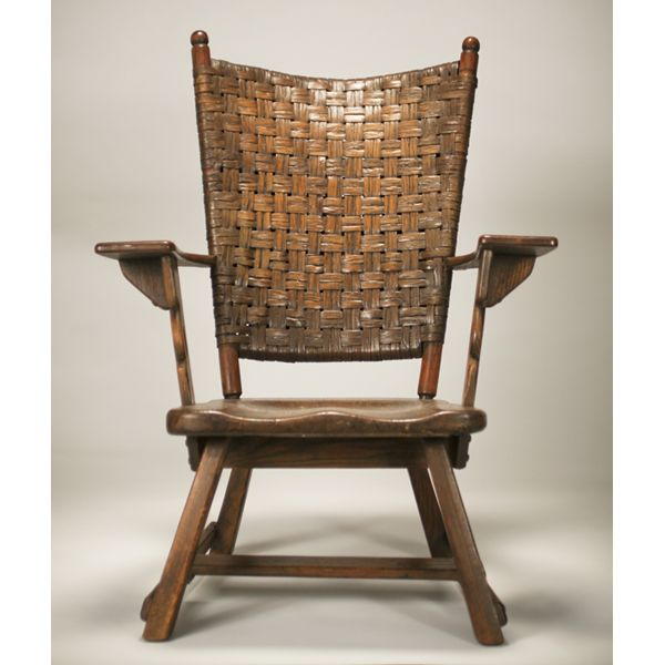 Old Hickory Martinsville paddle arm chair woven back contoured