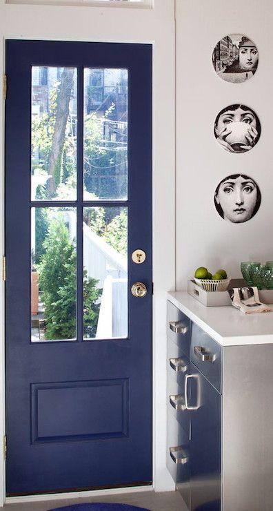 Blue Door Contemporary Kitchen Josephine Design White Countertops Dark Cabinets Kitchen Design Contemporary White White Countertops