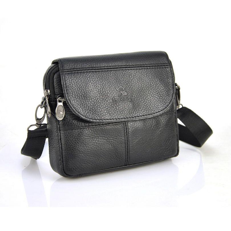 90f9c7592e 100% Genuine Real Cow Leather Small Handbag Men Women Shoulder Bag Messenger  Pouch Causal Travel Purse Classic Flap