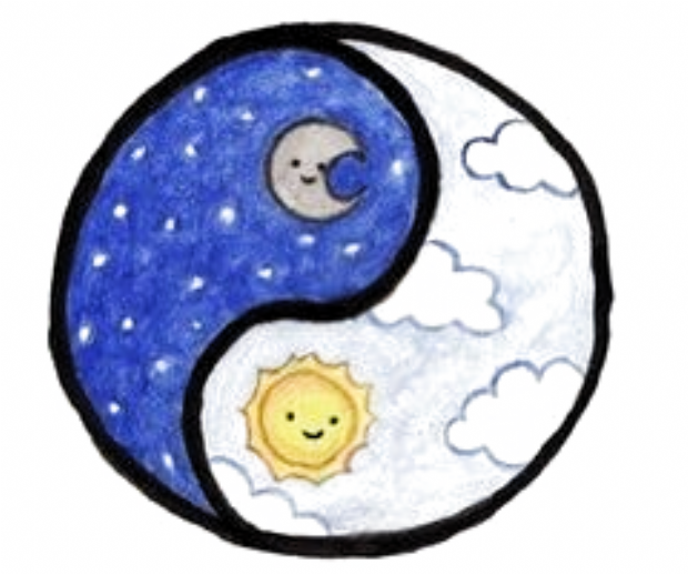 Moon And The Sun Ying Yang In 2020 Cute Easy Drawings Kawaii Drawings Cute Kawaii Drawings