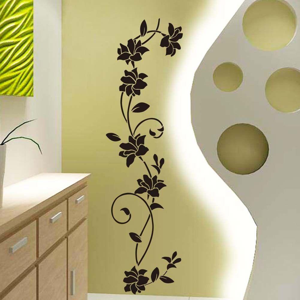 Flower Vine Blossom Wall Sticker Mural Decor Art Vinyl Decal Black ...