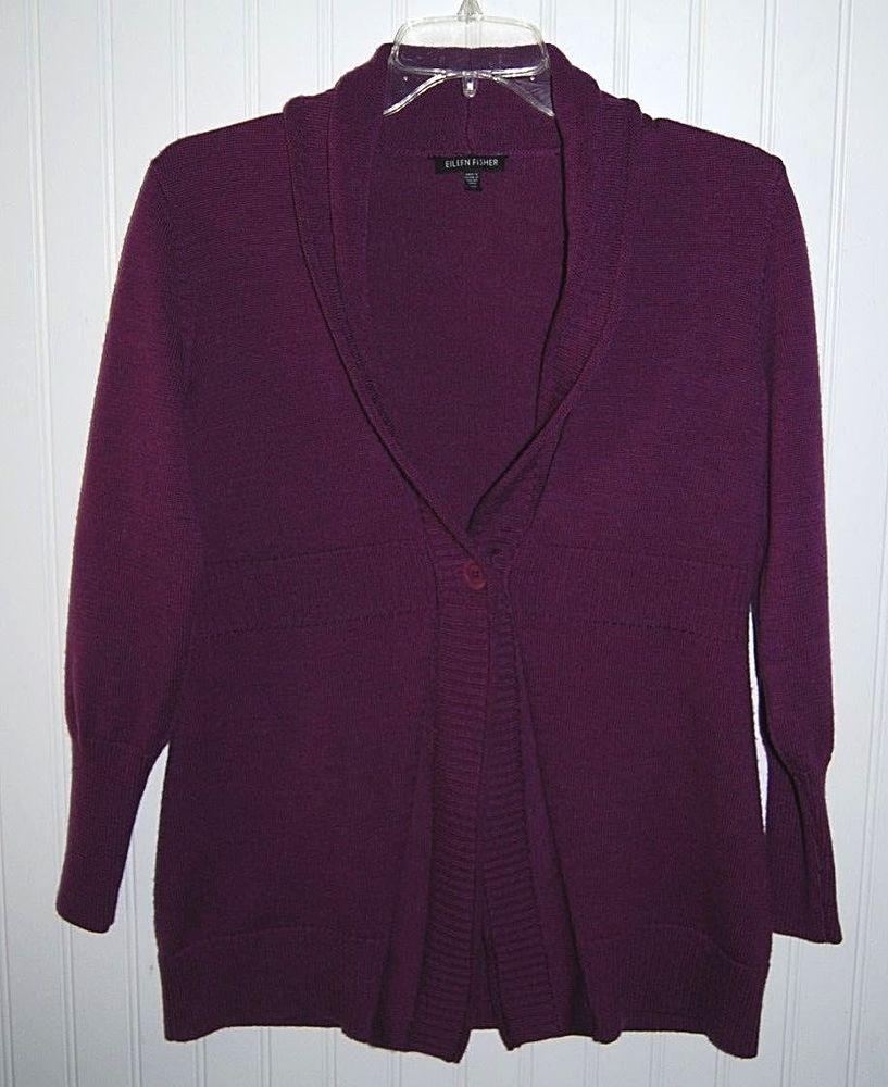 Eileen Fisher Women's XS Wool Cardigan Sweater Long Sleeve Purple ...