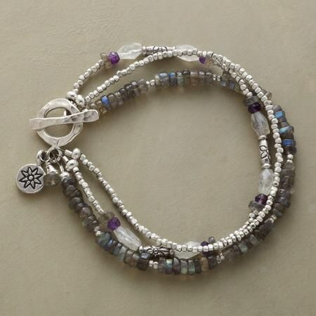 """STORM CLOUDS BRACELET - A multi-strand gemstone toggle bracelet, in which the storm cloud colors of labradorite, moonstone and amethyst are shot through with the radiance of sterling silver beads. Toggle clasp. Exclusive. Handcrafted in USA. Approx. 7-1/2""""L."""