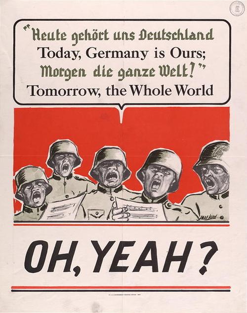 Humorous American Wwii Propaganda Poster Challenging Germany S Assertion That Tomorrow The World Would B Wwii Posters Wwii Propaganda Posters Wwii Propaganda