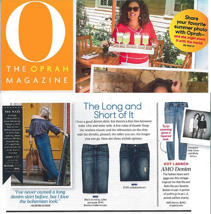 """Lucky Brand's denim skirt in O, The Oprah Magazine's """"August 2015 Denim Guide""""."""