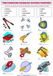 Hand tools matching exercise esl vocabulary worksheet for Gardening tools meaning