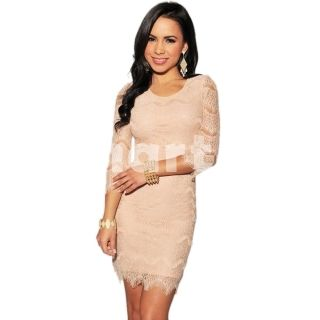 Fashionable European Style Hip-hugger Three Quarter Sleeves Lace Dress Light Pink Free Size,$20.35