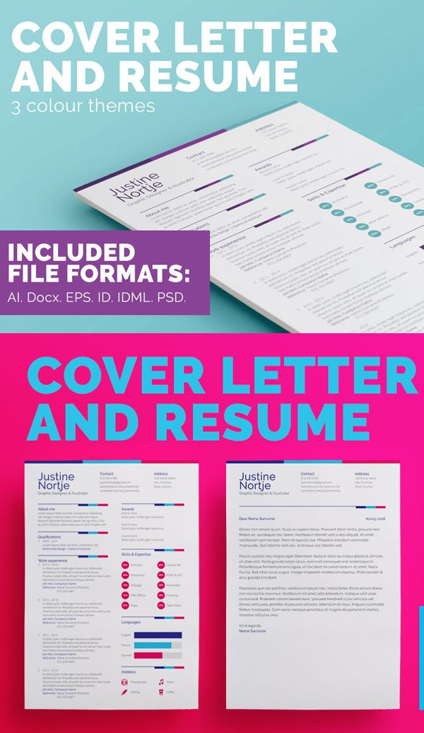Resume  Cover Letter Template  Three Color  Misc