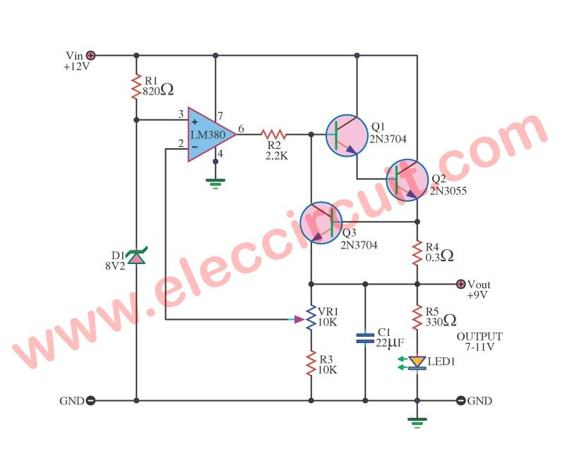 3 Step Down 12v To 9v Converter Circuits Eleccircuit Com Electronics Projects Diy Electronics Components Electronics Projects