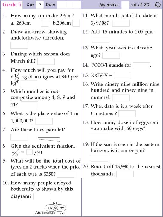 Mental Math Grade 5 Day 9 Mental Math Math Pages Math Olympiad