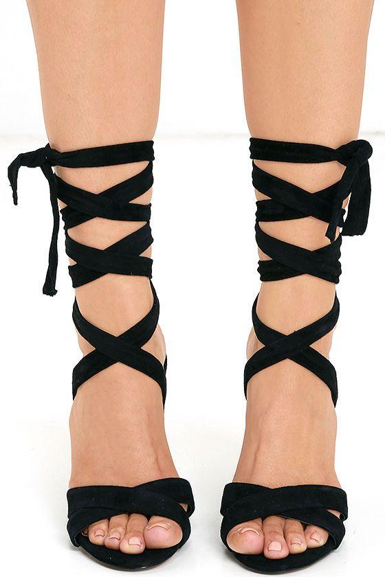 add69668d95 Steve Madden Christey - Black Heels - Lace-Up Heels -  109.00