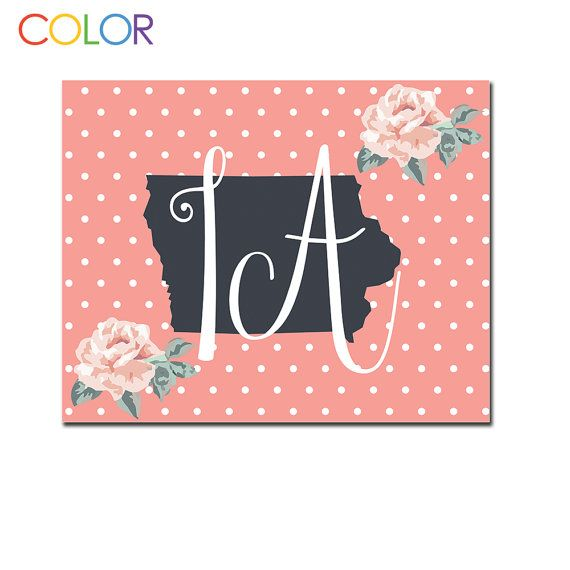 Iowa State Printable ArtPink and White Polka by ColorPrintables, $5.00