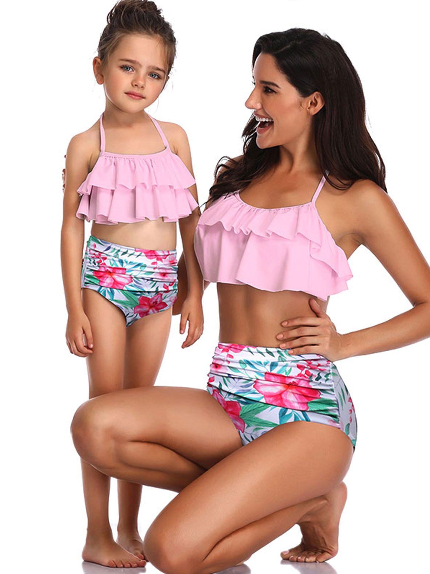 Family Matching Mother Daughter Bikini Women Girl Bandage Swimsuit Swimwear Set