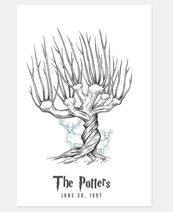 Whomping Willow Harry Potter Custom Thumbprint Fingerprint Tree Guest Book Print Harry Potter Coloring Pages Harry Potter Tattoos Harry Potter Wedding
