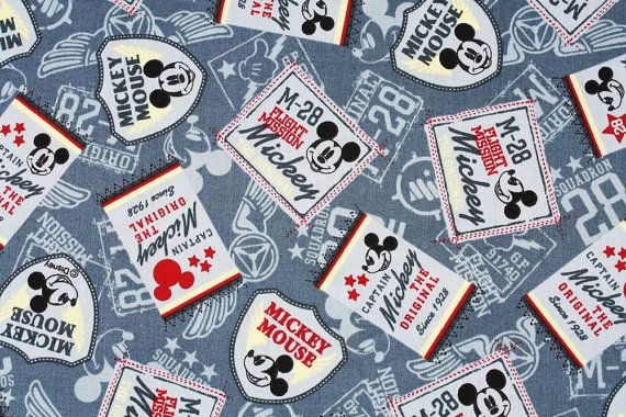 Disney Mickey Mouse Character Oxford Fabric made in Japan FQ