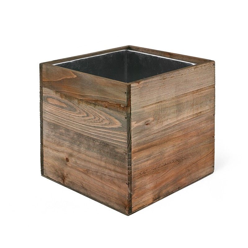 16 Pcs Wood Cube Planter Box W Zinc Liner Natural H 6 Open 6 X6 Wood Planters Wood Planter Box Planter Boxes