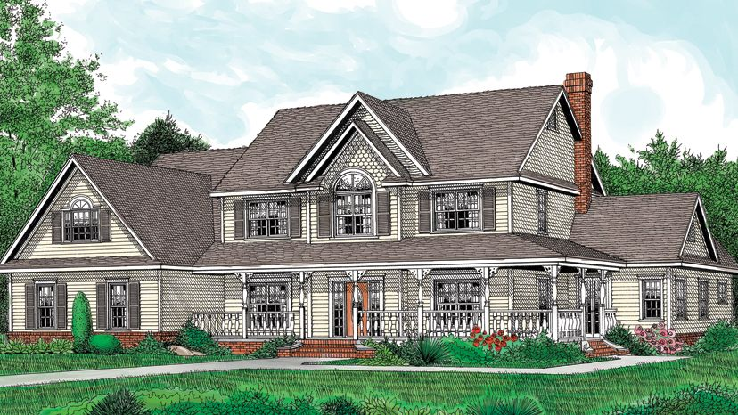 Farmhouses Are Usually Two Stories With Plenty Of Space Upstairs For Bedrooms Description From