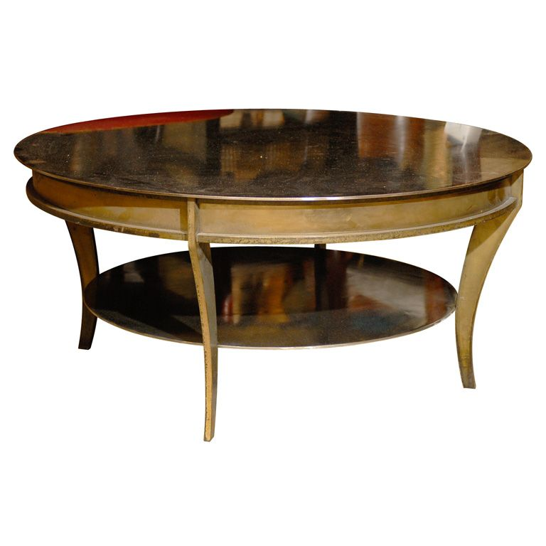 POSSIBLY MID CENTURY ROUND MIXED METAL COFFEE TABLE