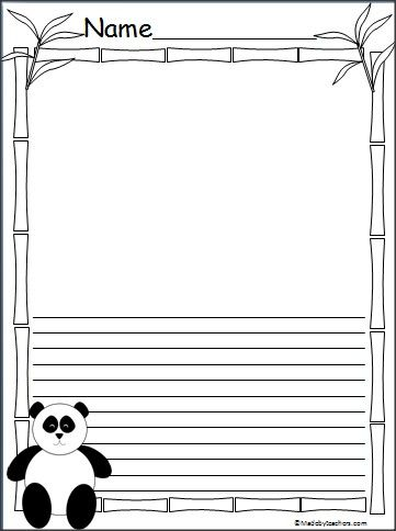 this is a panda bear writing template available on madebyteacherscom there are three