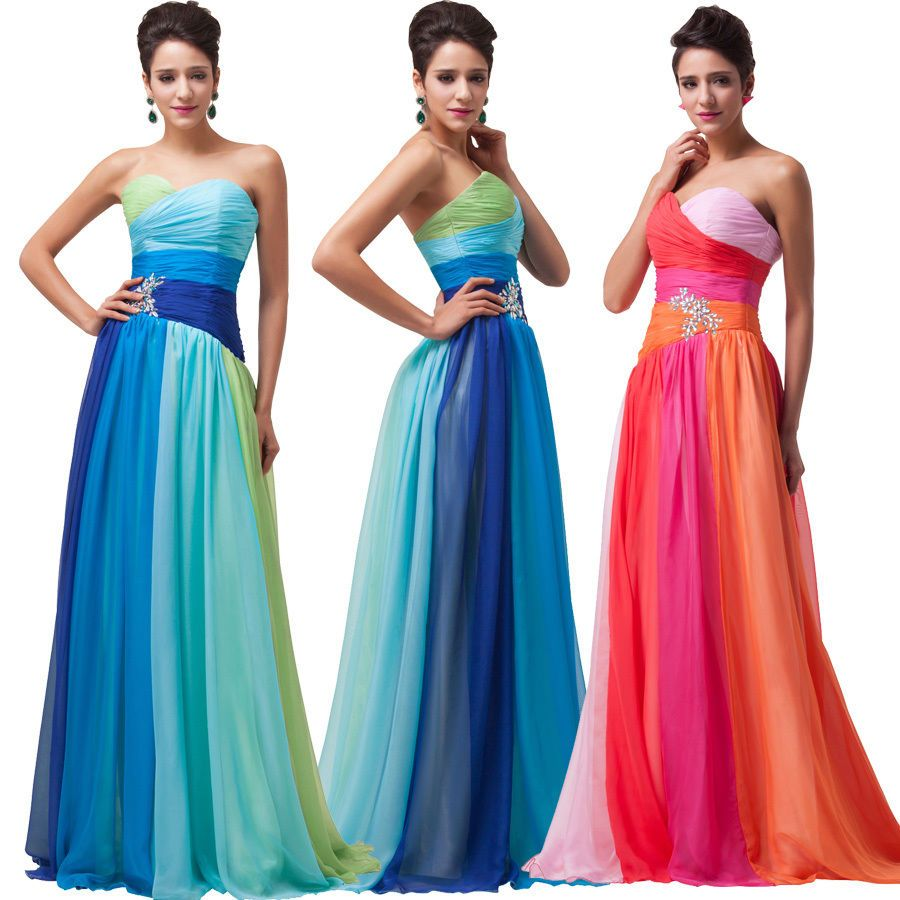 2-24W Plus Size Long Prom Bridesmaid Evening Ball Gown Ombre ...