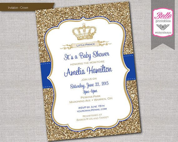 Baby Shower Invitation Prince Crown Royal Blue And Gold Glitter