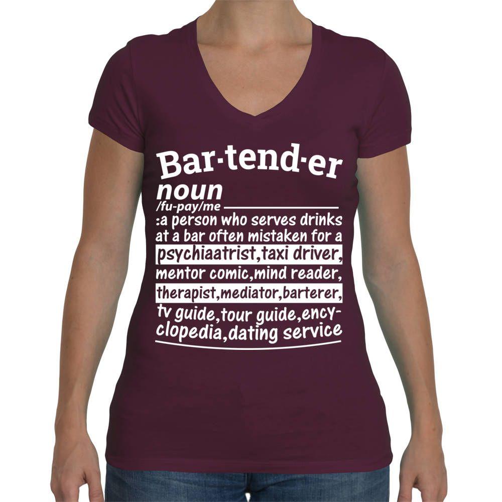 aa48dc36 Bartender Shirt, Bartender Noun Definition Funny T-Shirt, Shirt for  Bartender,Bartender Gift, Bar T-Shirt Profession Tee Shirt, V-Neck Style by  ...
