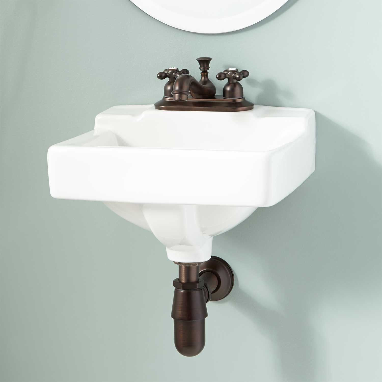 Farnham Mini Porcelain Wall Mount Bathroom Sink 4 Centers