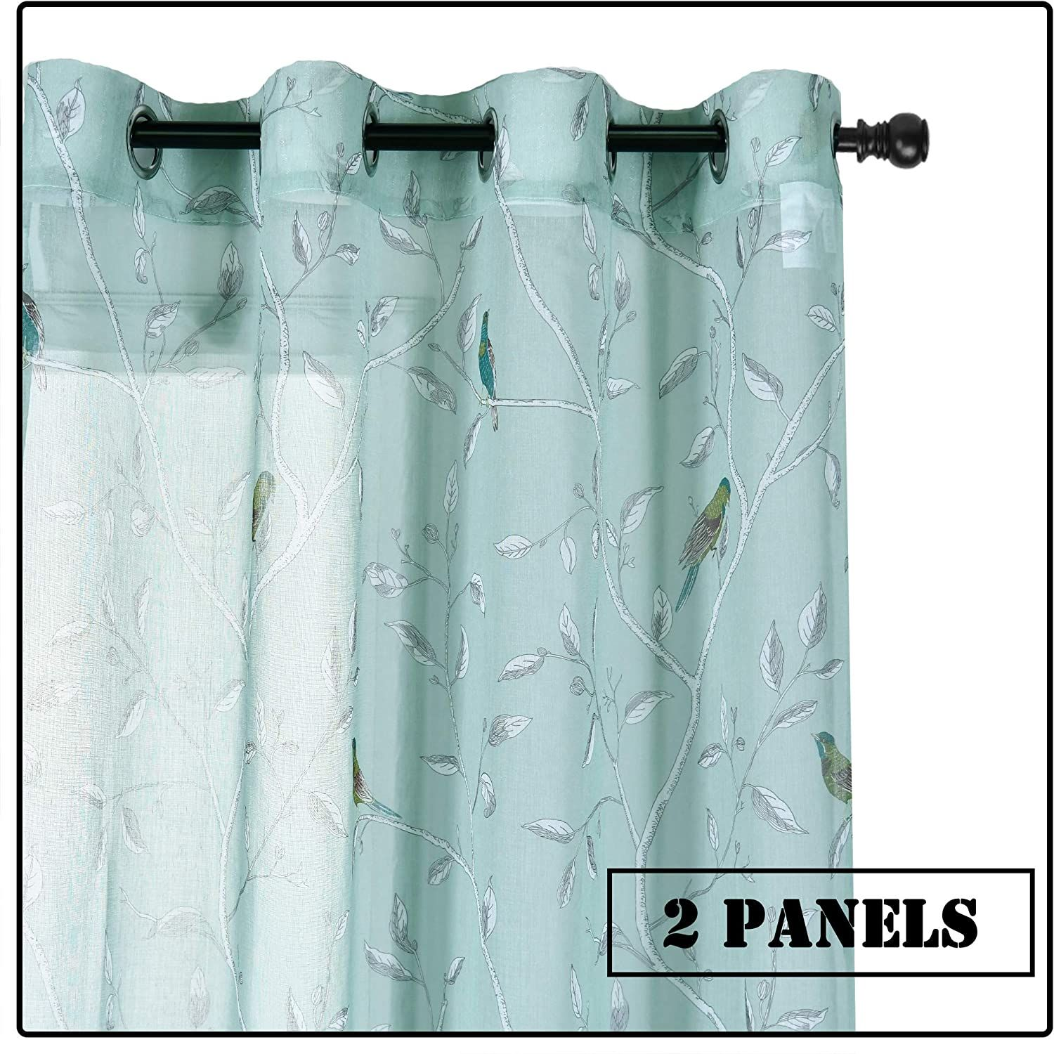 Huto Bird Printed Sheer Curtains 84 Inches Long For Bedroom