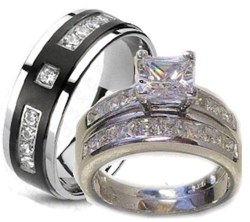 His Hers Matching 3 Piece Wedding Ring Set Couples Wedding