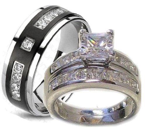His Hers Matching 3 Piece Wedding Ring Set White Gold Wedding Ring Set Wedding Ring Sets Mens Wedding Rings