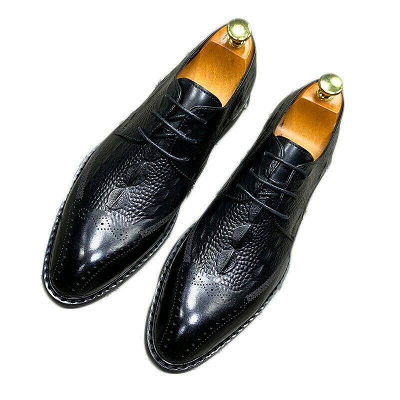 Retro Men/'s Brogue Carved Tassel Wing Tip Casual British Hollow Dress Shoes Size