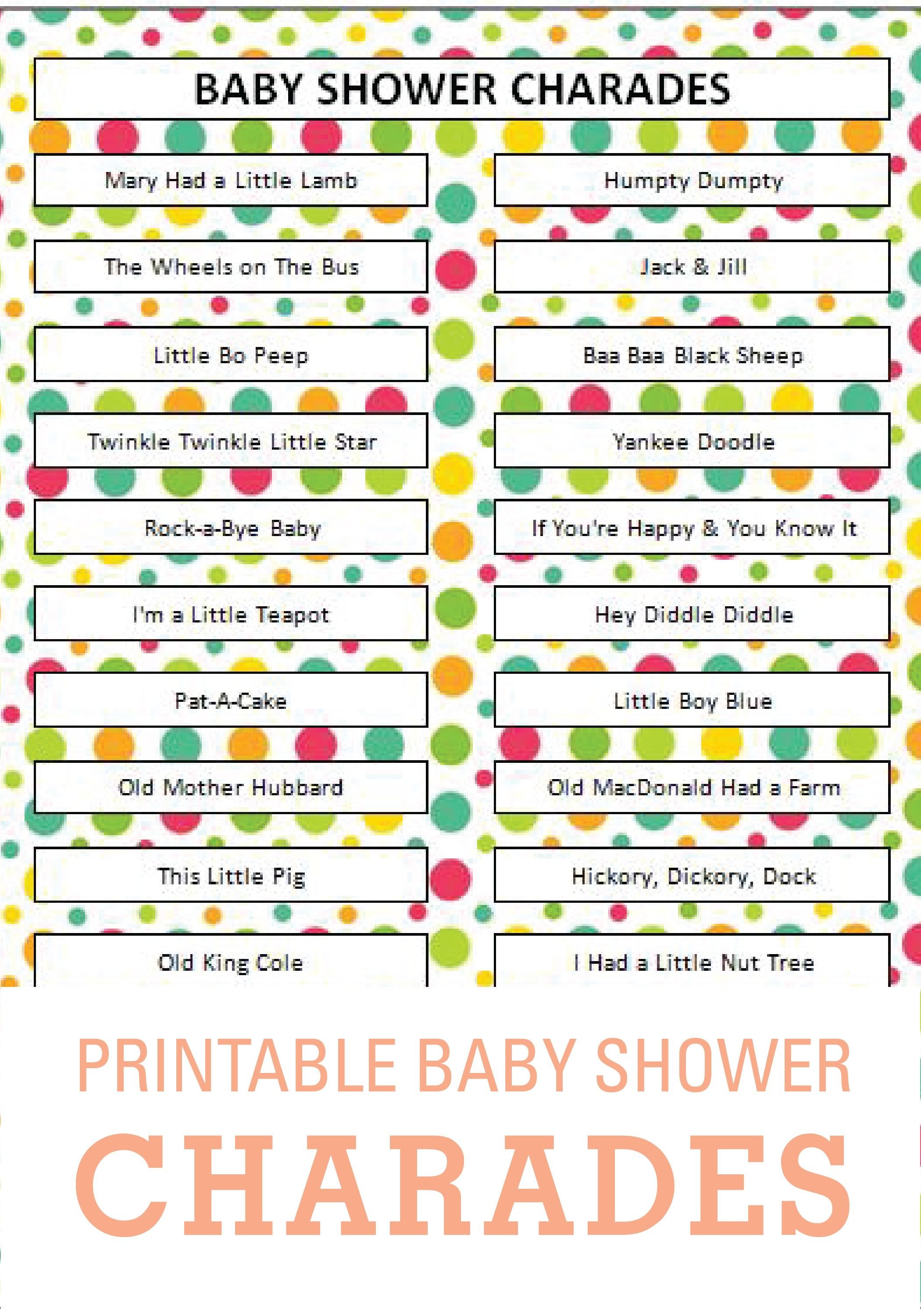 Printable Charades Is The Perfect Baby Shower Game!