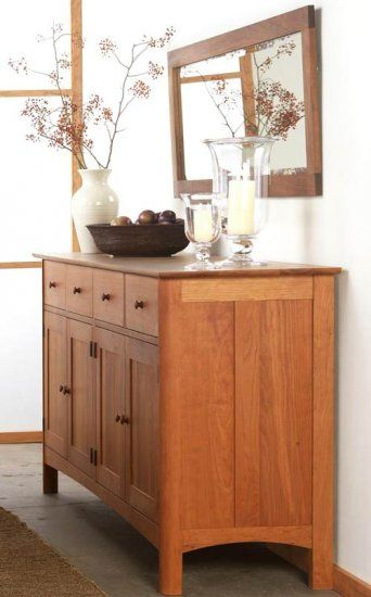 Modern Shaker Long Sideboard Buffet Made In The USA Solid Wood American Luxury Dining