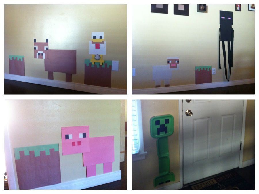 Minecraft Party Construction Paper Decorations