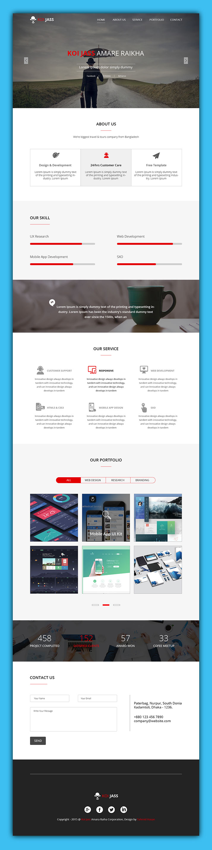 KOI JASS One Page PSD Template FREE PSD : http://www.72pxdesigns.com ...