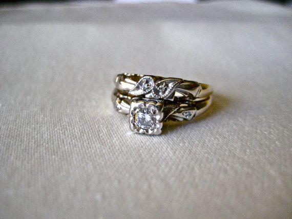 vintage diamond engagement ring/wedding bands/1940s size 6 1/2 unique floral antique/valentines day. $1,295.00, via Etsy.