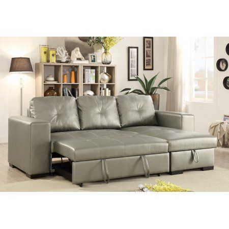 Convertible Sectional Sofa Small Family Living Room Furniture Silver