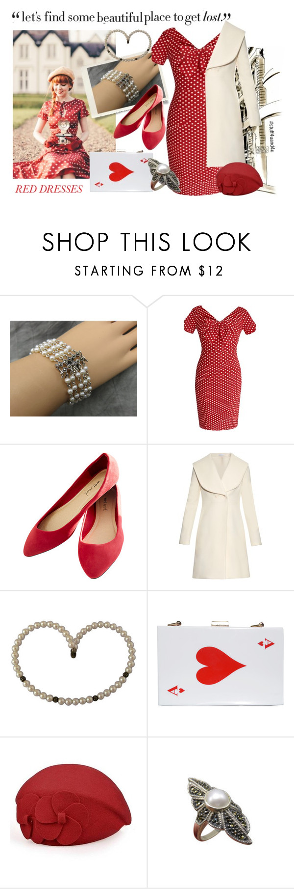 """""""Pearls and Polka Dots"""" by stuff4uand4u ❤ liked on Polyvore featuring Judith Jack, Wet Seal, J.W. Anderson, Rare London, reddress and stuff4uand4u"""
