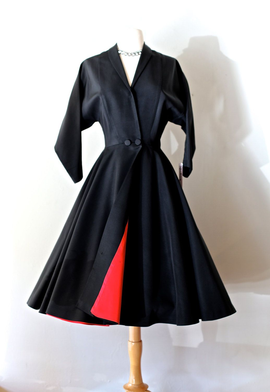 Vintage s new look faille coat dress vintage s black fitted