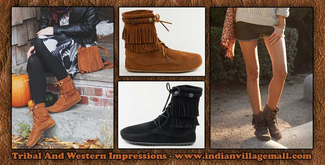 Minnetonka suede leather knee high tall lace up moccasin fringe boots - Minnetonka Double Fringe Tramper Boot Moccasins From Tribal And Western Impressions Old West Cowboy And Indian Store