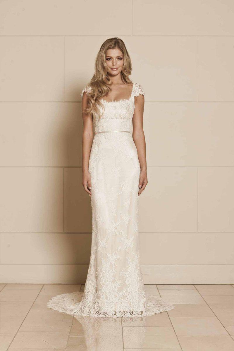 Cap Sleeves Floor Length Court Train Lace Open Back Wedding Dress Cap Sleeve Wedding Dress Lace Wedding Dress Cap Sleeves Lace Wedding Dress Vintage