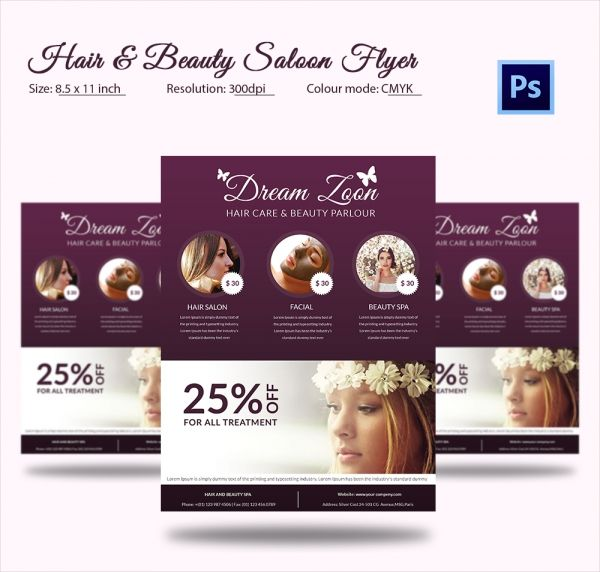 Populaire Hair Salon and Beauty Care Flyer PSD Download | 66+ Beauty Salon  UK44