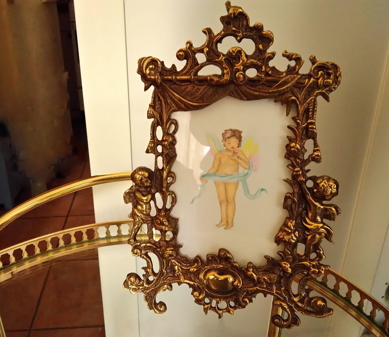 Cornice In Ottone Con Angeli Cornice Portafoto Vintage Etsy Cherub Frame Picture Frames