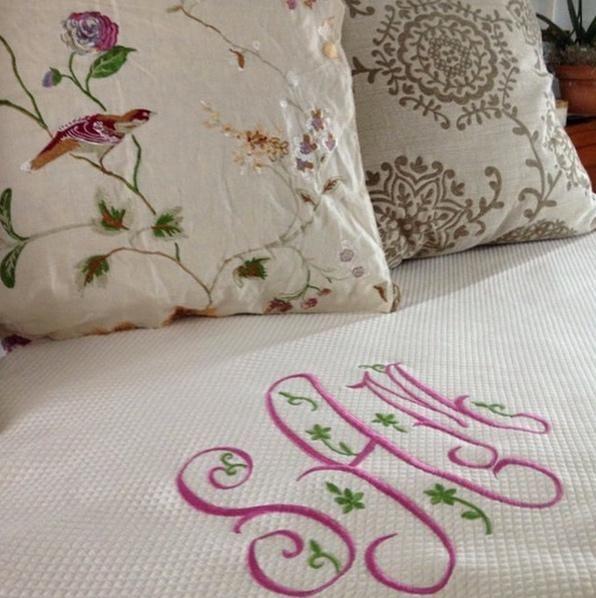 Monogrammed Bed Coverlet by Jane Wilner Designs