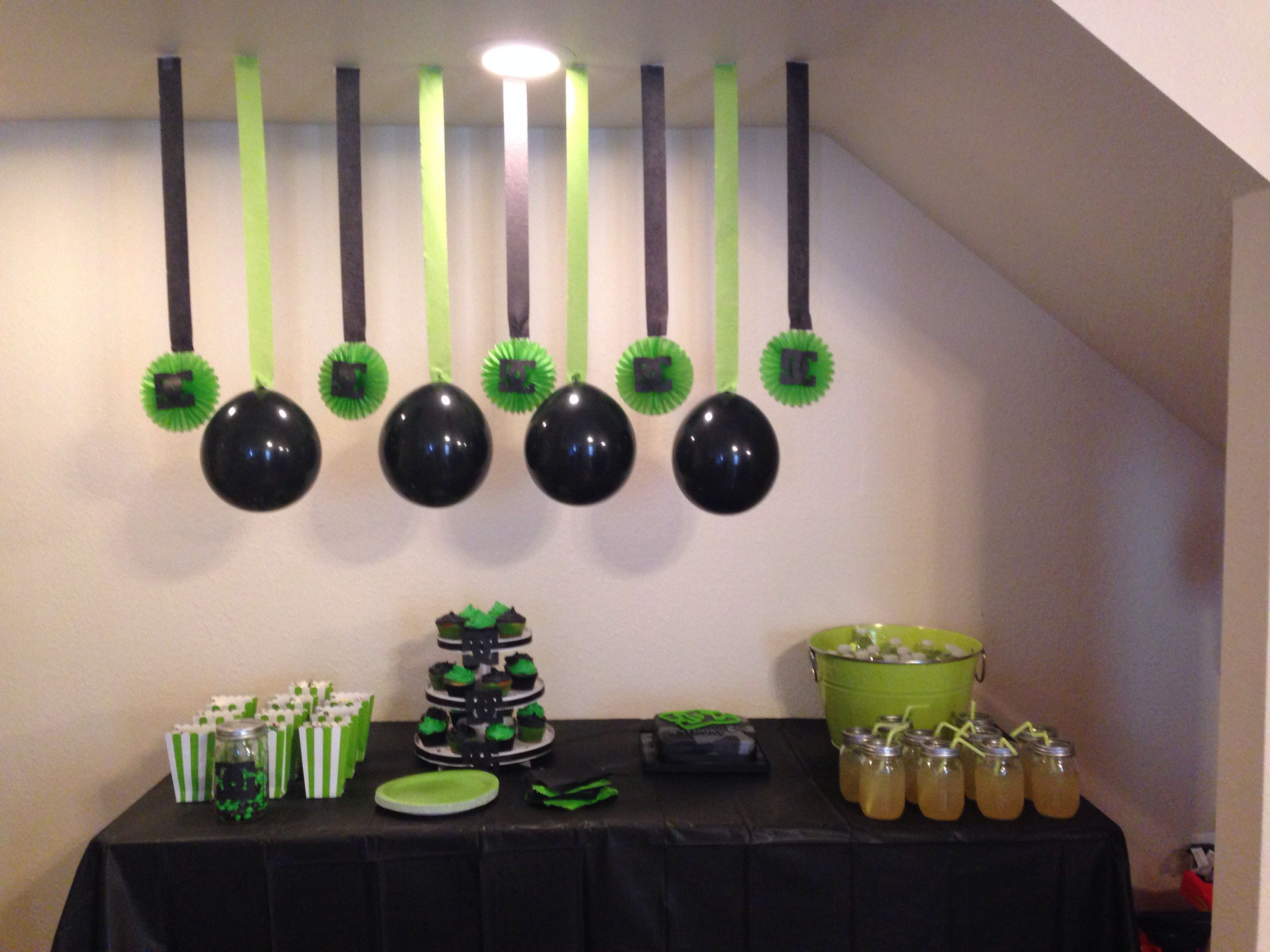 Lime green and black decorations to go with a DCCamo themed