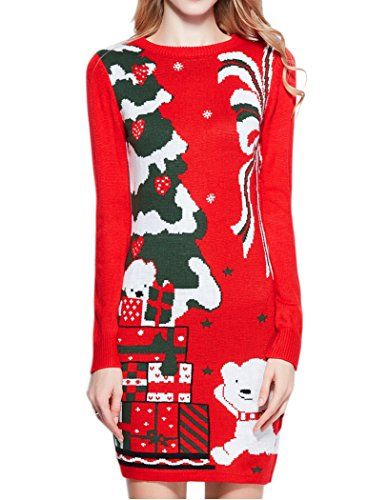 Women Christmas Sweater, V28 Ugly Cowl Neck Cute Reindeer