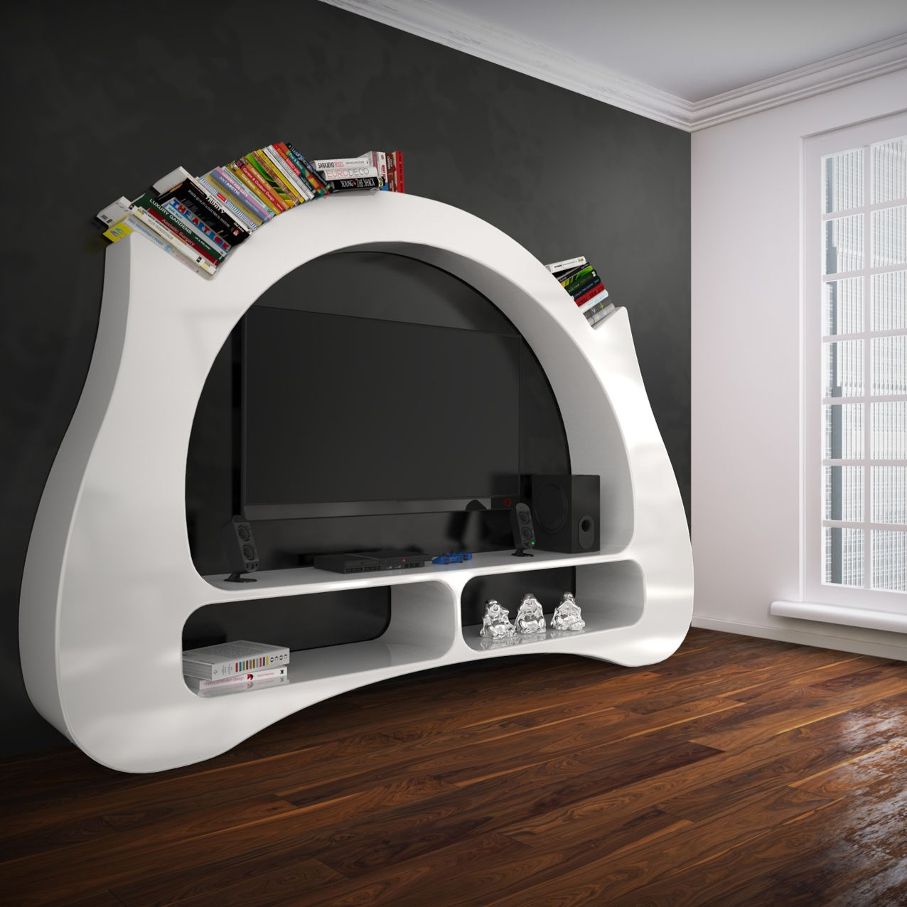 My space mobile tv e libreria cos si presenta con un for Mobili di design a basso costo