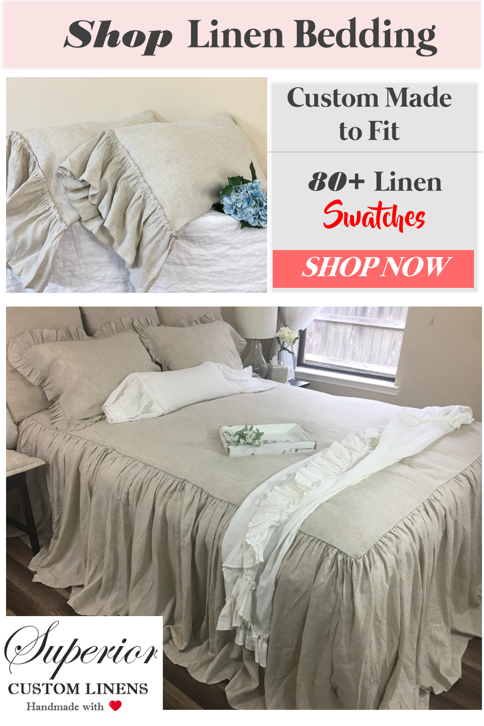Shop Linen Bedspread And More Made To Fit 80 Linen Swatches Bed Spreads Shabby Chic Bedding Bedroom Design Inspiration